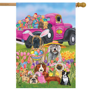 """Easter Dogs Holiday Humor House Flag Decorated Eggs 28"""" x 40"""" Briarwood Lane"""