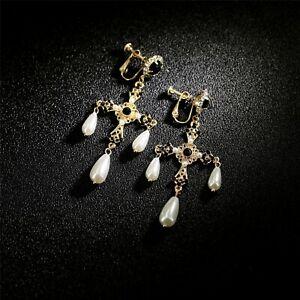 Earrings Clip On Golden Chandelier Cross Black Pearl Drop Baroque J15