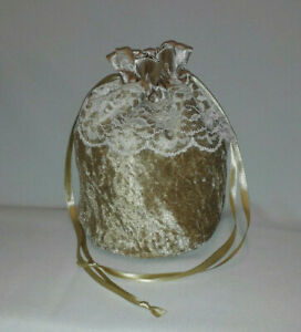 Gold Velvet & Satin Drawstring Dolly Bag with Ivory Lace Evening Wedding Bridal