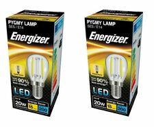 2 x Energizer 2W = 20W LED Clear Filament Pygmy Appliance Bulb Warm White E14