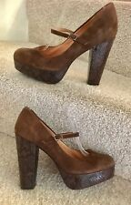 Stunning Office Size 6 Brown Leather Women's Mary Jane Block Heel Shoes Platform