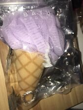 New Ice Cream Cone Bath Shower Sponge Puff Loofah Pale Light Purple Lavender Nip