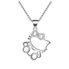 Cute Hello Kitty Cat Kitten Cubic Zirconia 925 Sterling Silver Pendant Necklace