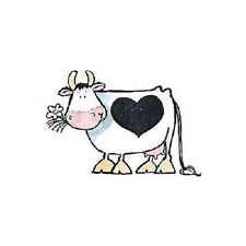 PENNY BLACK RUBBER STAMPS LOVE COW WITH HEART NEW wood STAMP