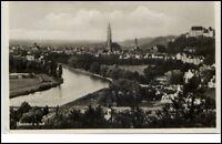 Landshut an der Isar Postkarte 1934 gelaufen Gesamtansicht mit Fluß AK Bayern