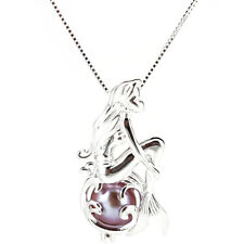 925 Sterling Silver Pick a Pearl Cage Mermaid Locket Pendant Chain K1159