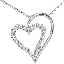 Naava 9ct White Gold Diamond Heart Pendant Necklace + 46cm Chain (PP3175W)