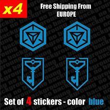 Set of 4 INGRESS Resistance  Vinyl Decal Sticker Aufkleber - Blue, Die-Cut