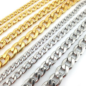 Silver Gold Curb Link Bracelet 6-12mm 20cm Mens Womens Children Unisex