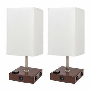 2 Set Bedside Nightstand End Table Lamp Wood Rustic Home w/ USB Port And Outlet