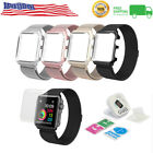 Milanese Magnetic Stainless Strap With Metal Case Frame For Apple iWatch Lot