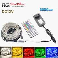 5050 SMD 5M RGB 300 Led Flexible Light Strip Lamp/44 Key Remote/12V 3A Power