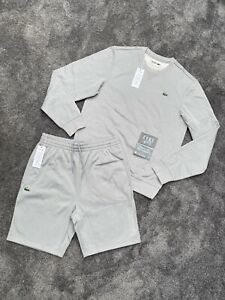 BNWT LACOSTE POLY FLEECE AUTHENTIC EXCLUSIVE MENS GREY SHORTS/SWEATER SET (XXL)