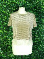 Topshop Vtg Green/Champagne Velour Short Sleeved Cropped Fringe Top UK Size 12