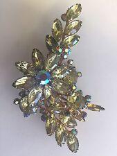 Vintage Glitzy 60's  D&L Julianna Brooch Pin Jonquil Navettes & Aurora Borealis