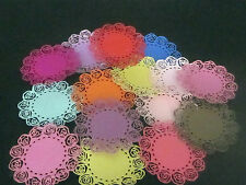 """DIE CUTS ROSE DOILEYS  6   VARIETY OF COLOURS 3""""x 3 1'2"""" approx  CARDSTOCK"""