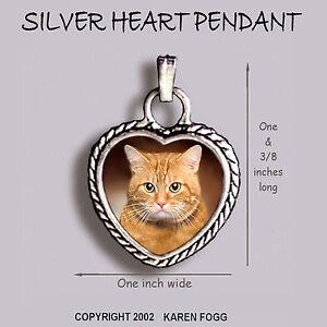 TABBY ORANGE SHORTHAIR Cat - Ornate HEART PENDANT Tibetan Silver