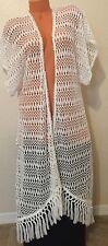 Nwt Victorias Secret Swim Long Cover-Up Kimono Beach Robe White Crochet Fringe M