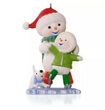 Chillin' Together 2015 Hallmark Ornament Making Memories Skating Snowman Son Dog