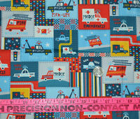 Doodles Brand Emergency & Rescue Patch Print 1/2 YARD Light Weight Denim