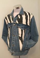 Vtg Freego Denim Blue Jean Button Front Trucker Jacket Zebra Print Panels Sz S