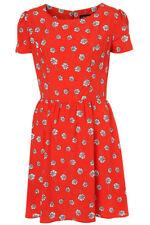 Topshop Red Daisy Floral White Print Tea Dress Vintage UK 12 US8 EU40