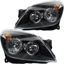 Vauxhall Astra H Mk5 2004-2007 Black Headlights Headlamps 1 Pair O/S And N/S
