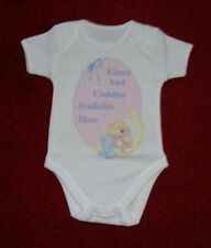 Kisses And Cuddles........ 100% Cotton Baby Grow Vest Boy/Girl 3-6 Months
