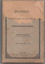 Protokoll Parteitages Sozialdemokratische Partei Deutschlands 1898 ! (H4