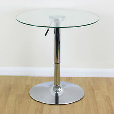 Clear Circular Height Adjustable Gas Lift Table Bistro/Kitchen/Cafe Chrome Base