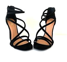 0de056f8082e Qupid Diamond Size 9 Black Caged Faux Suede Strappy Shoes Gladiator HEELS