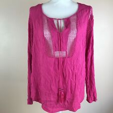 Joseph A Womens Pink Tunic XL Long Sleeve Tie Neck