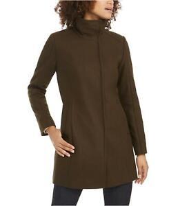 Cole Haan Womens Asymmetrical Snap-Closure Coat Size 12 Loden Green Wool