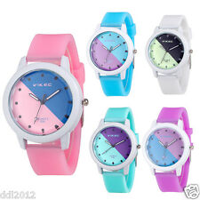 Women's Ladies Silica Jelly Gel Band Sports Waterproof Quartz Wrist Watches Gift
