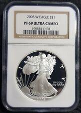 2005-W 1 Troy Oz .999 Silver Eagle $1 NGC PF69 UC Proof 69 Ultra Cameo PF-69
