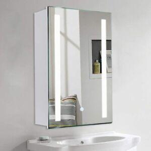 LED Bathroom Mirror Cabinet with Shaver Socket Demister Sensor Lights Vertically