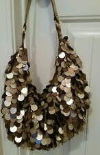 Brown Satin Beaded Purse With Circular Flat tassels