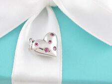 TIFFANY & CO SILVER PINK SAPPHIRE HEART ETOILE CHARM PENDANT
