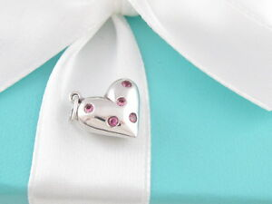 AUTH TIFFANY & CO SILVER PINK SAPPHIRE HEART ETOILE CHARM PENDANT