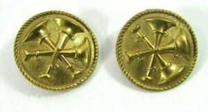 2 Vintage Asst. Fire Chief 3 Bugle Round Gold Tone Pin Buttons