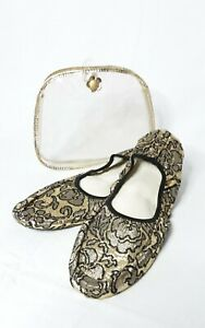 Vintage Pretty Polly Foldable Casuals Slippers Shoes Gold Black with Travel Case
