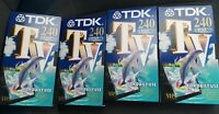 "Four (4) TDK VHS Blank Video Tapes 240 Minutes 4 Hours *""SPARES OR REPAIR**"