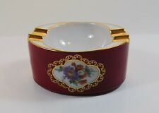 Vintage Lindner Kueps Bavaria Porcelain Ashtray Royal Red/Burgundy Gold Trim