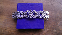 Mexico Taxco Sterling Silver Link Panels Bracelet ~ 71 Grams