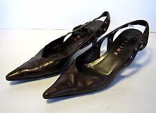 Celine Sling Back Heels Shoes Size 38 1/2 Brown Pointed Toe