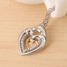 1PC Mom Embrace Baby Rhinestone Heart Pendant Necklace Mother's Day Gift JJ