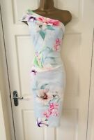 LIPSY Baby Blue Floral One Shoulder Bodycon Party Dress SZ 4 6 8 10 12 14 16 18