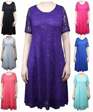 New Ladies Short Sleeve Floral Lace Party Swing Skater Women's Dress Plus Size
