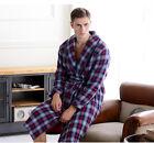 Men's Red Grid Thicken Cotton Long Sleeve Sleepwear/Night-Robe S M L XL XXL &