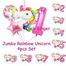Rainbow Unicorn Jumbo Foil Balloon Pink Number Balloons (4pcs) Helium Decoration
